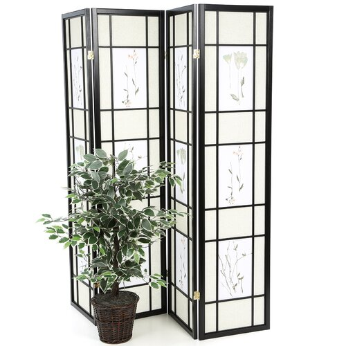 "Wildon Home ® 70.25"" x 69"" Pateros Floral Printed Folding 4 Panel Room Divider"
