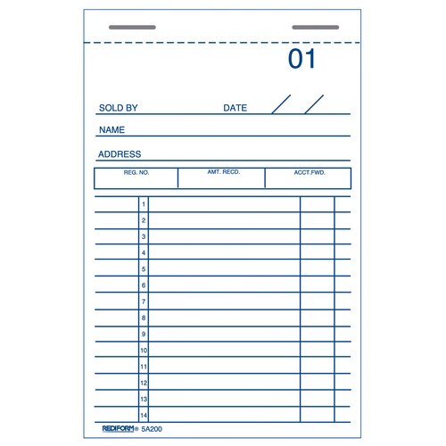 "Rediform-Blueline 3"" x 5"" Sales and Guest Check Book"