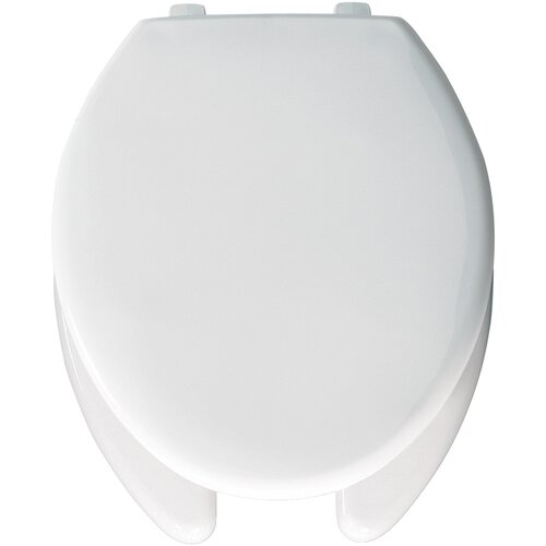 Bemis Elongated Commercial Open Front Solid Plastic Toilet Seat with Top-Tite