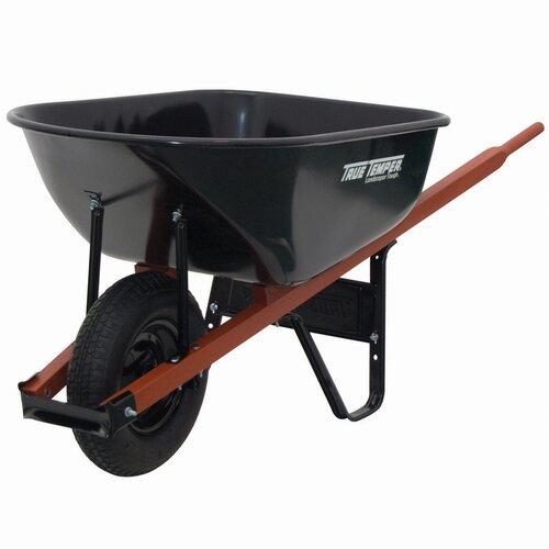 TrueTemper 6 Cubic Foot Steel Wheelbarrow in Black