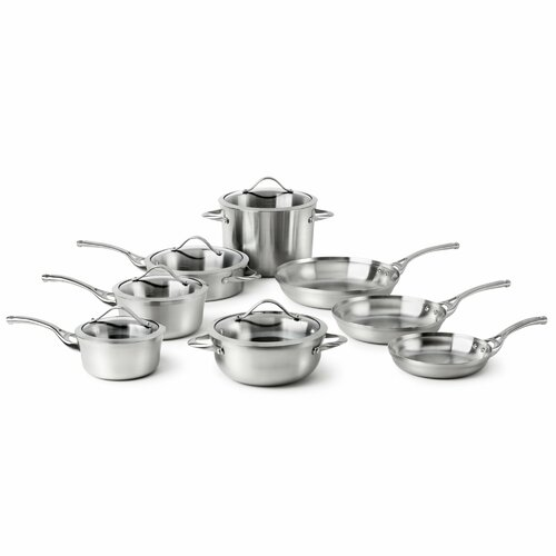 Contemporary Stainless Steel 13-Piece Cookware Set