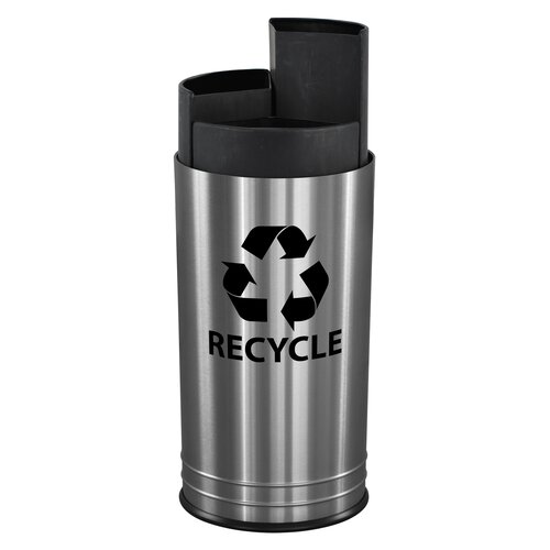 Ex-Cell Three Stream Indoor 13 Gallon Multi Compartment Recycling Bin