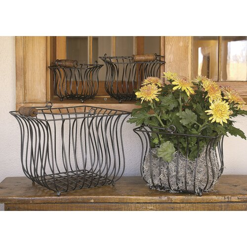 Kindwer 4 Piece Square Iron Basket Set with Wood Handles