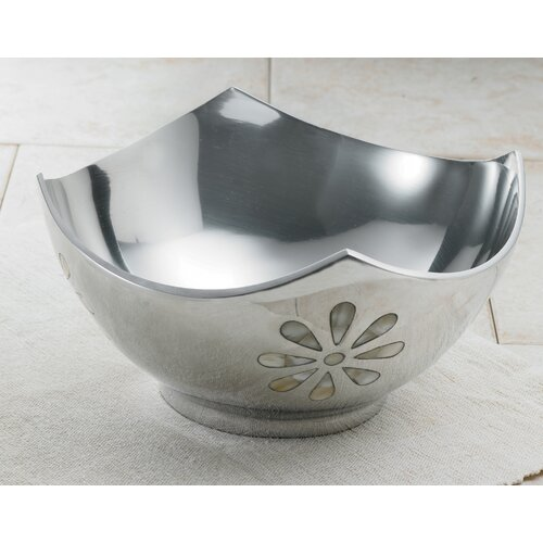 Kindwer Aluminum Bowl with Mother of Pearl Flowers