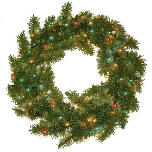 Prelit Evergreen Fir Wreath with 100 Multi Indoor/Outdoor Lights