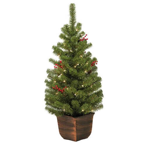 """General Foam Plastics Vernon Entryway 48"""" Green Artificial Christmas Tree with 50 Clear Lights with Pot"""