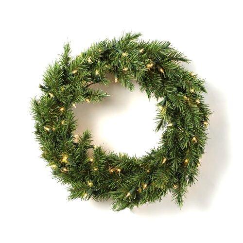 Prelit Evergreen Fir Wreath with 100 Clear Indoor/Outdoor Lights