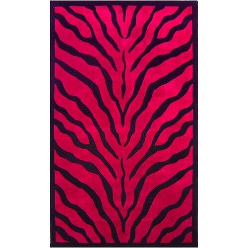 African Safari Pink/Black Zebra Print Rug