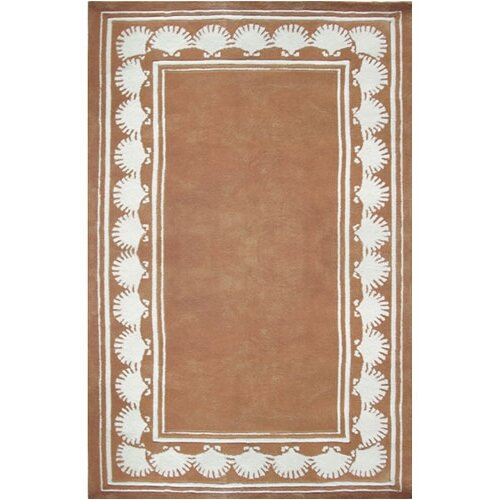 Beach Rug Peach Shell Border Novelty Rug