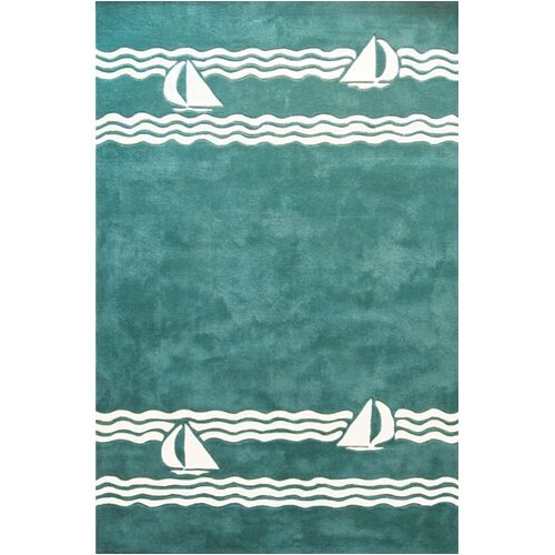 American Home Rug Co. Beach Rug Teal Sailboat Novelty Rug
