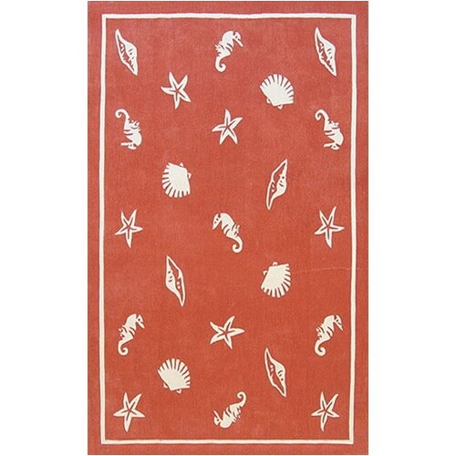 American Home Rug Co. Beach Rug Coral Shells and Seahorses Novelty Rug