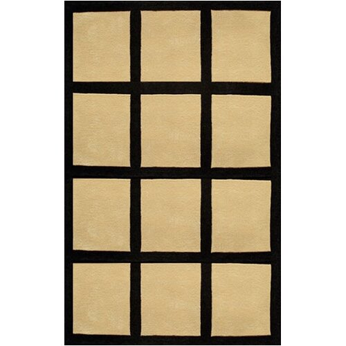 American Home Rug Co. Bright Rug Window Blocks Sand/Black Rug