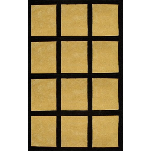 American Home Rug Co. Bright Rug Window Blocks Yellow/Black Rug