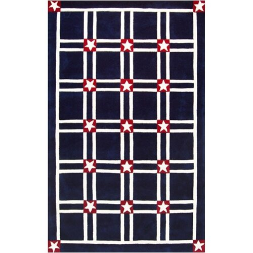 Bright Rug Navy/White Stars and Stripes Novelty Rug