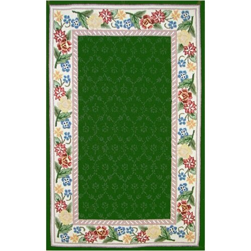 Bucks County Emerald Green/Ivory Damask Rug
