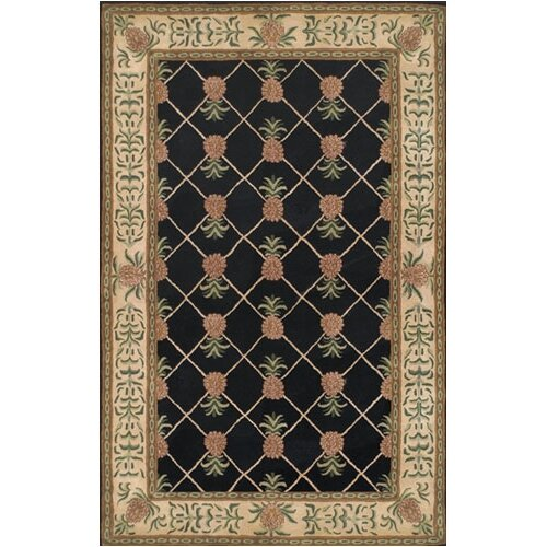 Cape May Black/Ivory Pineapple Garden Rug