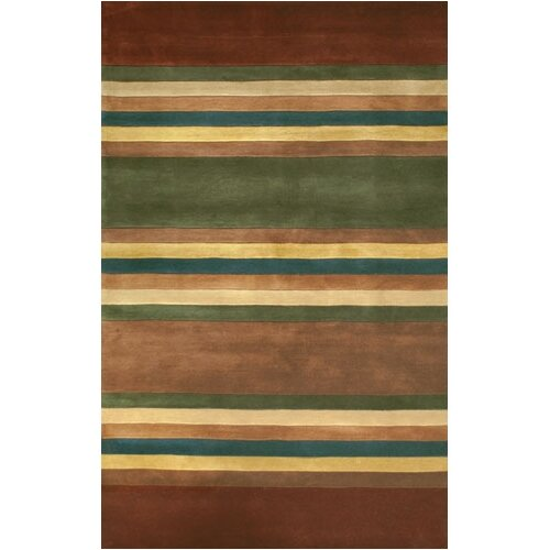 Casual Contemporary Earth Tones Modern Stripes Rug