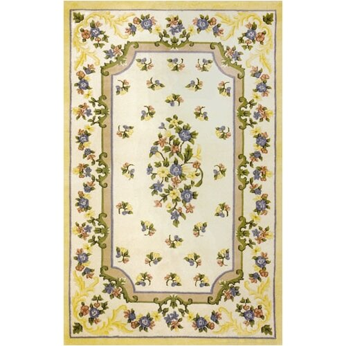 Floral Garden Floral Aubusson Ivory/Yellow Rug