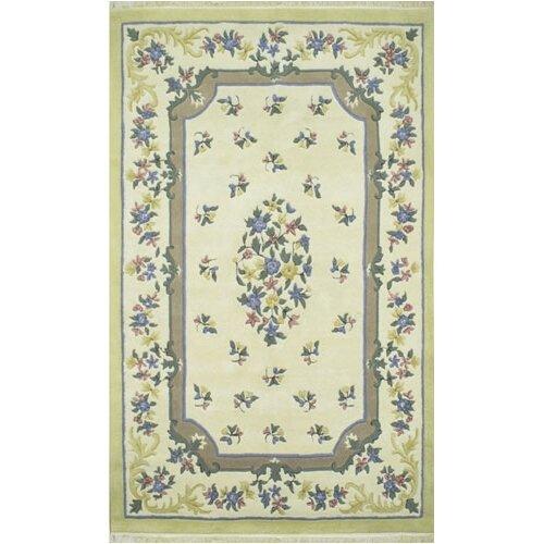 French Country Aubusson Ivory/Yellow Floral Rug