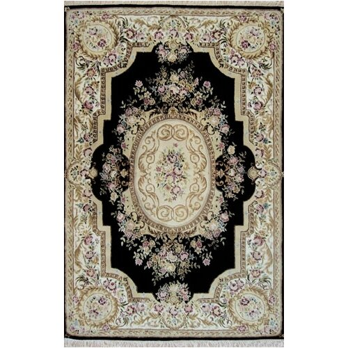 French Elegance Black/Ivory Aubusson Rug