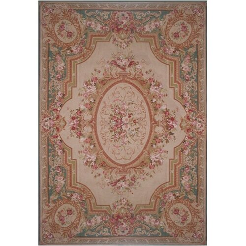 American Home Rug Co. Grandeur Beige/Teal Needlepoint Aubusson Area Rug