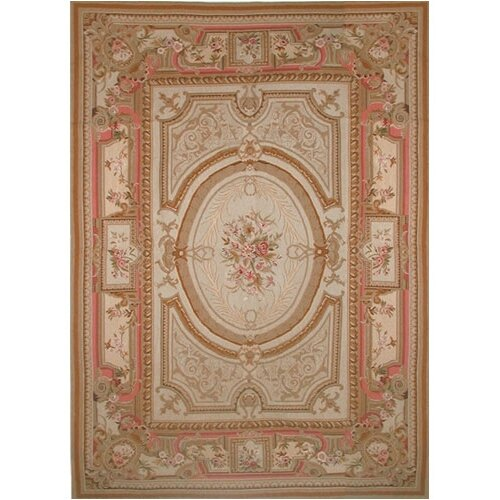 Grandeur Gold/Coral Needlepoint Aubusson Rug/Tapestry
