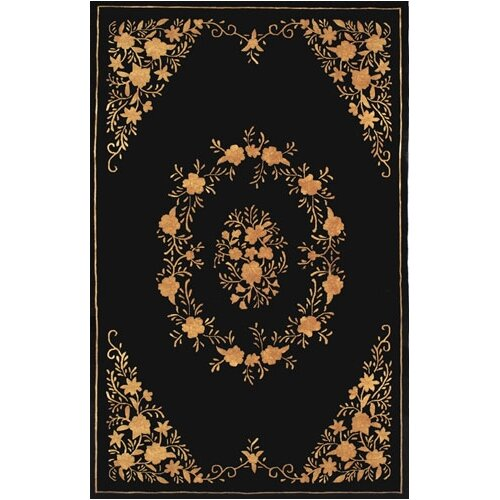 Neo Nepal Black/Gold Aubusson Flowers Rug