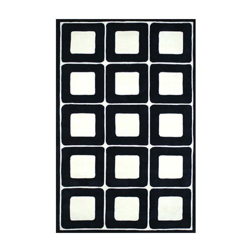 American Home Rug Co. Modern Living Deco Blocks Black/White Rug