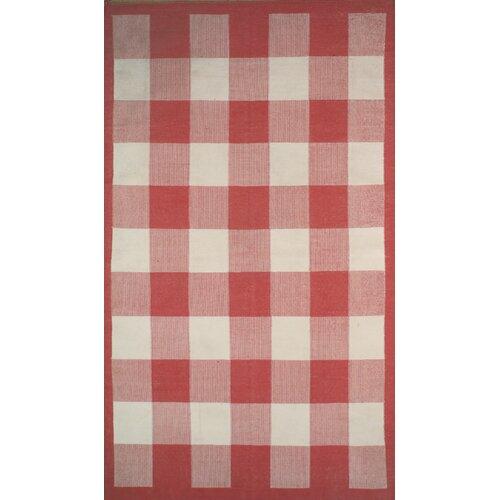 Cottage Kilim Berry Red Elegant Check Rug