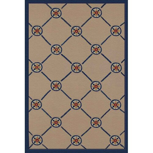 American Home Rug Co. Beach Rug Ivory/Blue Compass Novelty Rug