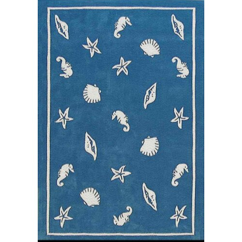 American Home Rug Co. Beach Rug Blue Shells and Seahorses Novelty Rug