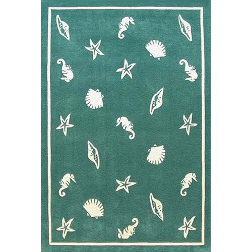 Beach Rug Teal Shells and Seahorses Novelty Rug