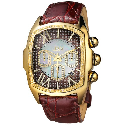JBW Men's Ceasar Diamond Accented Bezel Watch in Brown