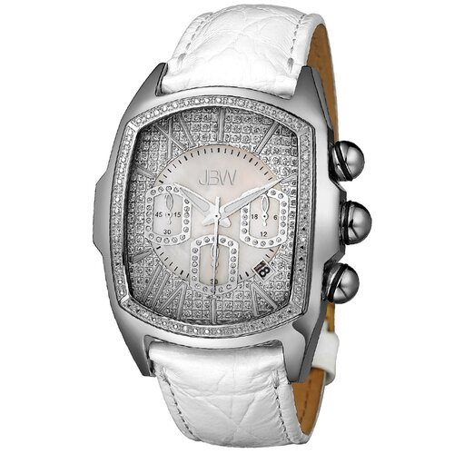 Men's Ceasar Diamond Accented Bezel Watch in White