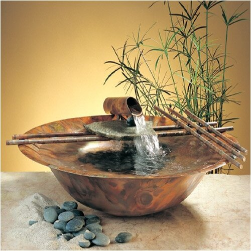 Copper Nature Bowl Medium Tabletop Fountain