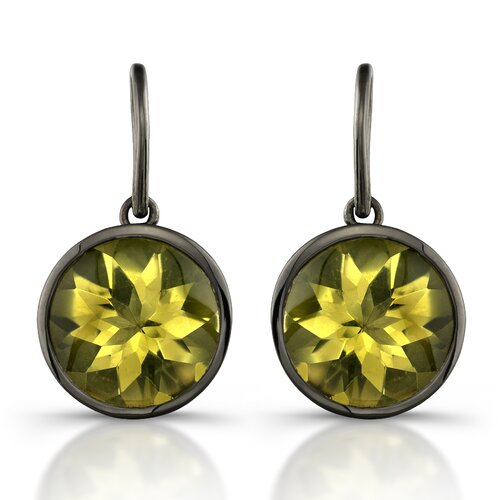 Moonstruck Sterling Silver and Lemon Quartz 11 ct Earrings with Black Rhodium