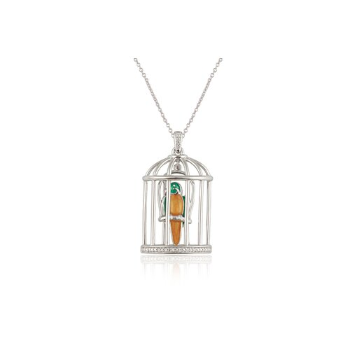 "Élan Jewelry Sterling Silver and Brilliant Diamond ""Rio"" Multiple Color Enamel Parakeet in a Cage Pendant"