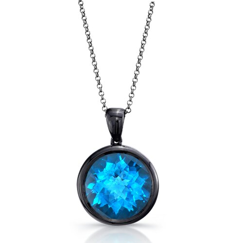 Élan Jewelry Moonstruck Sterling Silver and Swiss Blue Topaz 15 ct Pendant with Black Rhodium
