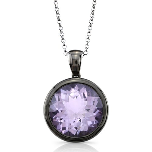 Élan Jewelry Moonstruck Sterling Silver and Rose De France Quartz 11 ct Pendant with Black Rhodium