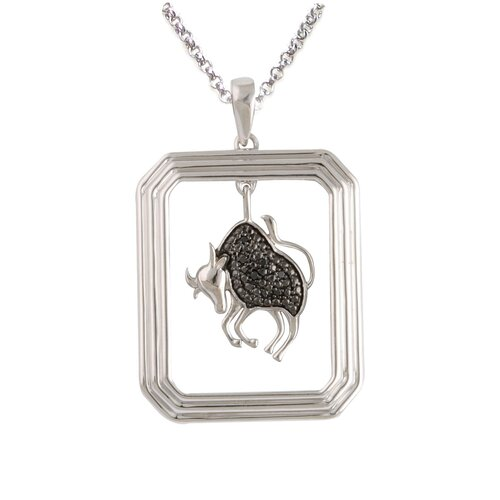Élan Jewelry Starry Nights Sterling Silver and Black Diamond Taurus Star Sign Dog Tag Pendant