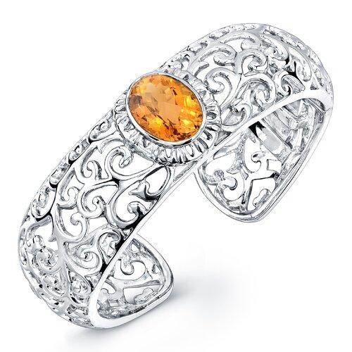 Élan Jewelry Dawn Oval Cut Gemstone Cuff Bracelet in Sterling Silver