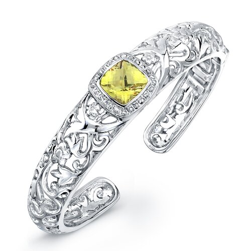 Élan Jewelry Chrysalis Cushion Cut Gemstone Cuff Bracelet in Sterling Silver