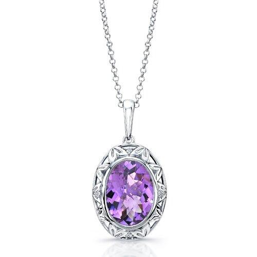 "Élan Jewelry ""Dawn"" Sterling Silver and Brilliant Diamond 5 Carat Amethyst Pendant"