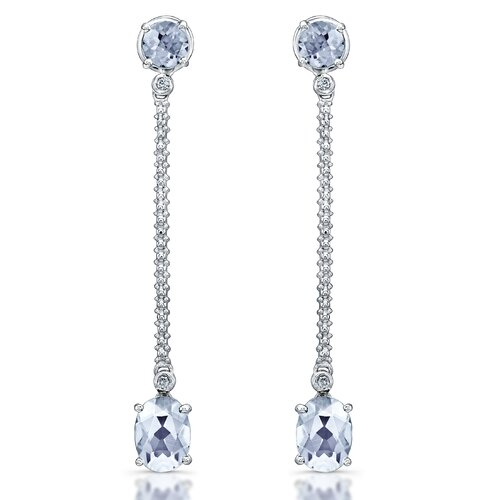 Élan Jewelry Elegance 3 Carat White Quartz and Brilliant Cut Diamond Earrings