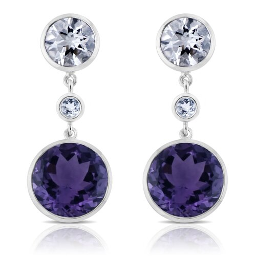 Élan Jewelry Angelina Sterling Silver Earrings with White Quartz and Amethyst