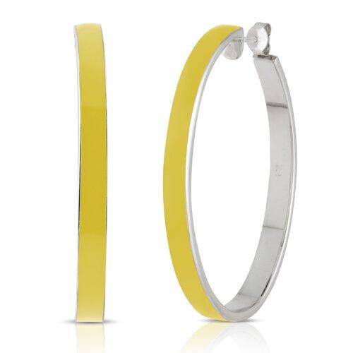 Élan Jewelry Carnival Sterling Silver and Enamel Oval Hoop Earrings in Lemon