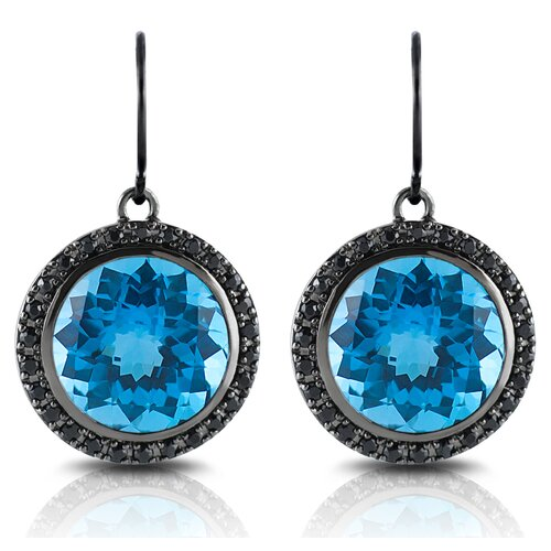 Capri 15 Carat Swiss Blue Topaz and Black Sapphire Earrings