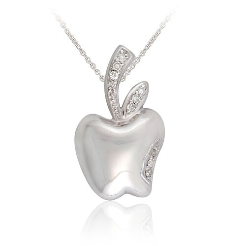Élan Jewelry Sterling Silver and Cubic Zirconia Apple Pendant