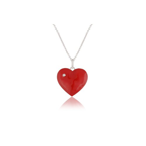 Élan Jewelry Sterling Silver Diamond and Enamel Heart Necklace