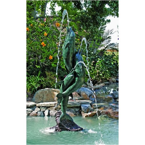 Brass Baron Sea Life Entwined Dolphins Fountain